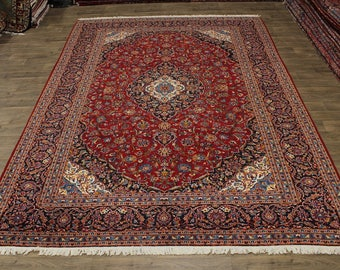 Gorgeous Traditional Hand Knotted Kashan Persia Area Rug Oriental Carpet 10X14