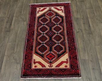 Delightful Design Vintage Tribal Balouch Persian Rug Oriental Area Carpet 3X7