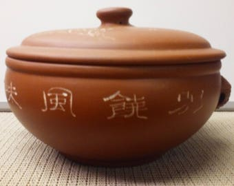 Oriental clay cooking pot with steamer spout made in mid-1900s