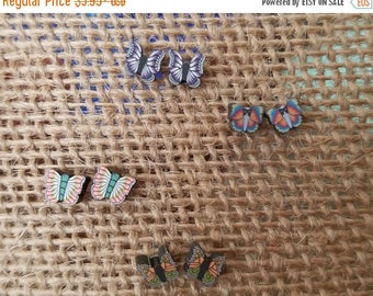 Summer Blowout Butterfly Stud Earrings,Insect Earrings,Delicate Butterfly Earrings,Insect Jewelry,Pink Purple Blue Butterfly Jewelry, Clay B