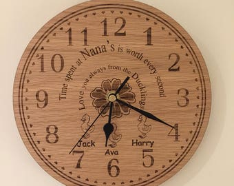 Beautiful oak engraved wall clock, perfect gift for grandparents from the grandkids
