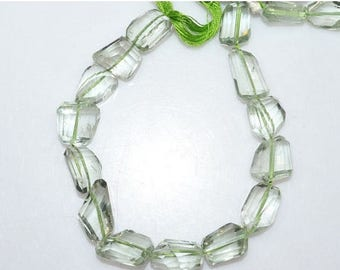 """50% OFF 1 Strand Green Amethyst Faceted Nuggets Briolette - Green Amethyst Faceted Tumble Beads , 9x13 - 12x15 mm , 7"""" - BL2094"""
