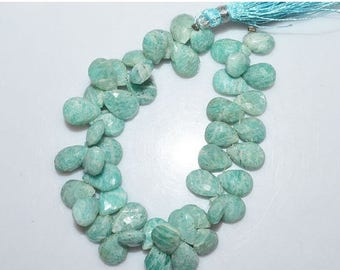 50% OFF 1 Strand Amazonite Faceted Pear Shape Beads - Amazonite Briolette , 11.5x9 - 14x9 mm , 7.5 Inch Strand , BL1768