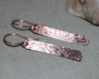 Copper Earrings Hammered Copper Bar Long Rectangle Rustic Jewelry Antiqued Textured Copper