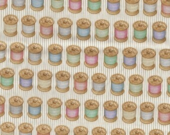 Fat quarter patchwork fabric 45 x 55 cm themed sewing spools ecru