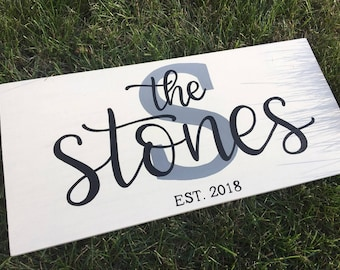Custom Last Name Sign | Personalized Wood Sign | Family Name Sign | Hand Painted Wood Sign | Home Decor | Wedding Gift | Date Est.