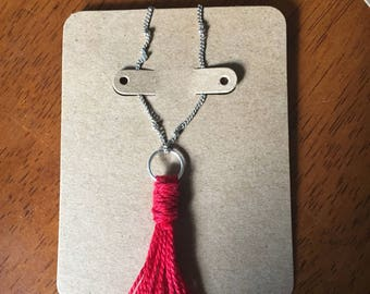 "12"" Drop Red Tassel Necklacw for Charity"