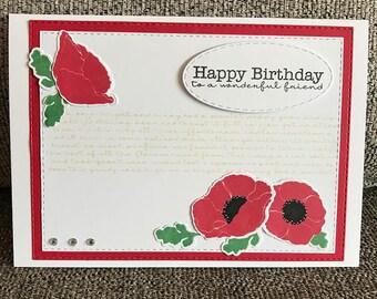 Handmade Poppy Card