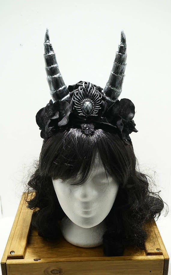 Silver black gothic Horn headpiece / silver black horns headpiece MADE TO ORDER