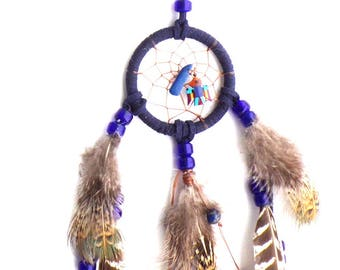 Dark Blue Dream Catcher / Thunderbird Inlay and Lapis Stone / Small Dreamcatcher / Long Pheasant Feathers / Leather Wrapped Dream Catcher