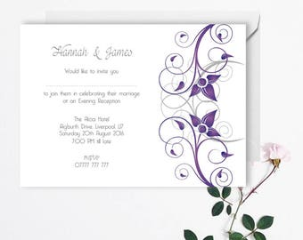 Wedding Evening Invitation - Modern Wedding - Printable Invitations - Digital Download File