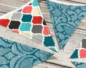 Turquoise Bunting-Coral Bunting-Nursery Decor-Girls Room Decor-Mantle Decor-Pennant Banner-Photo Prop-Pennant-Party Banner-Party Bunting