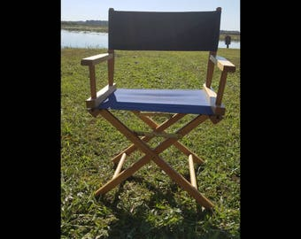 Blue canvas director chair / wood folding chair with blue canvas seat and back