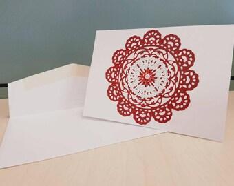 Blank card - lace look, red, die cut, pearl