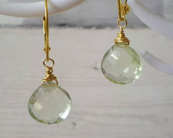 Green amethyst earrings, gold dangle earrings, gold leverback earrings, amethyst jewelry, gift for wife, gemstone earrings