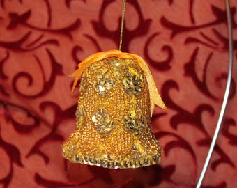 Vintage Christmas Ornament,  Bell Ornament, Gold Sequin Ornament, Vintage Bell Ornament