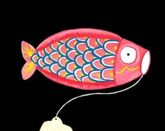 Japanese Kite painting gouache watercolor kite wind Japan Japanese koi carp fish vintage tarditionnel 25 cm x 16.8 cm