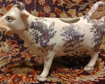 Authentic mid 19th century Staffordshire Cow Creamer Hand Potted Pearlware with Sponged Pink Lustre Decoration