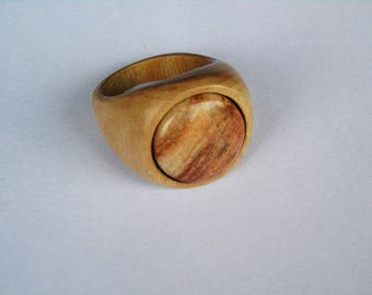 Wooden ring of Eucalyptus with a stone of the Valley of the Mosel Germany