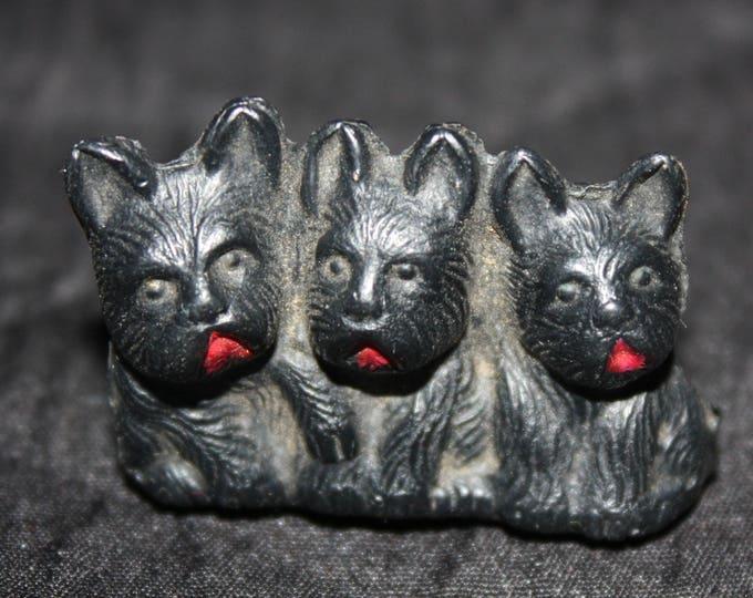 Vintage BLACK SCOTTIE DOGS Cracker Jack Toy Prize