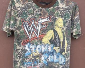 Vintage 90's WWF t shirt STONE COLD Steve Austin Camo