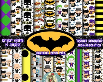 BATMAN, Batman Birthday, The Joker,  Scrapbook Paper, Digital Paper Commercial Use, Batman and Robin, Instant Download, Scrapbook Pages