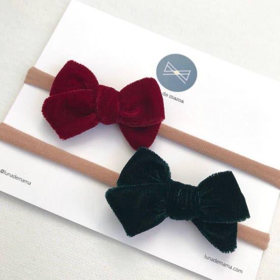 Dandelion>> MINI velvet velour bows | Christmas hair bows | classic hair bows | winter hair bows | luxury hair bows |