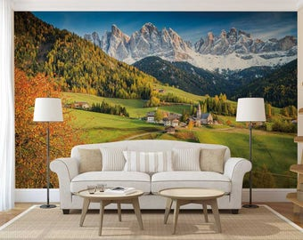 Wall Mural Mountains, Mountain Wallpaper, Mountain Wall Decal, Mountains Wall Mural