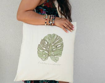 Tote Bag illustration leaves, jungle, each day is an adventure, tropical leaves