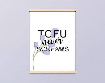 Displays Tofu never screams, gift for vegan, vegetarian, purple flowers
