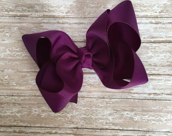 Plum Boutique hair bow, hair bows, solid color hair bows, large hair bows, Thanksgiving hair bows, christmas hair bows, boutique bows,
