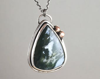 Moss Agate Necklace - Green Stone Pendant - Moss Agate Pendant - Green Stone Necklace - Mixed Metal - Nature - Gypsy - Natural - 17031