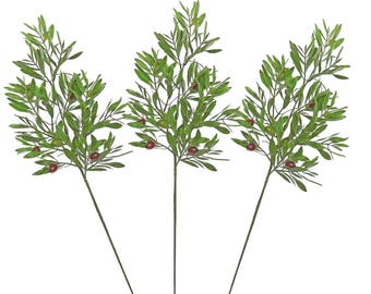 "ESE 3pcs of Olive Leaf with seeds spray, 25""H"