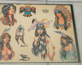 Vintage Tattoo Flash Art Sheets Pulled From Tattoo Shop ****************Vintage***********************