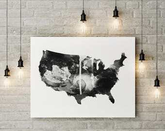 Black And White Map Etsy - Black and white usa map