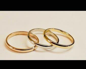 2mm wedding band- 9ct wedding ring - rose gold- white gold -yellow gold