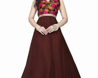 Readymade Maroon Long maxi Gown|Size 36-38| Indian dress |  Party Wear | Casual Wear| Evening wear| wedding wear| Pakistani wear