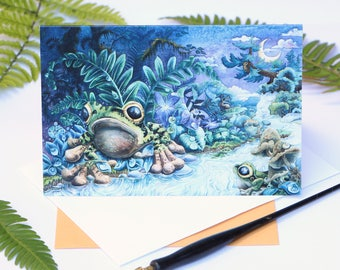 Wildlife note cards - 5x7 postcard - wildlife card - frog lover gift - frog greeting card - green tree frog - frog watercolor - surreal card