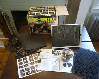 Vintage 1977 Hasbro Lite Brite 5455 with an Extra Grid, Original Box, Hundreds of Pegs, and Instructions