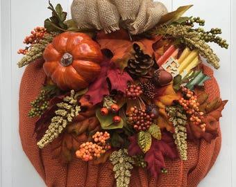 Burlap Wreath,Fall wreath, Halloween Wreath, Fall Decor, Pumpkin Wreath, Pumpkin Decor, Thanksgiving Decor, Burlap Decor, Floral decor