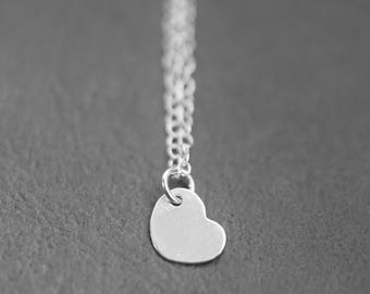 simple silver heart necklace, little silver heart necklace, small pendant silver necklace, dainty silver necklace, small pendant necklace