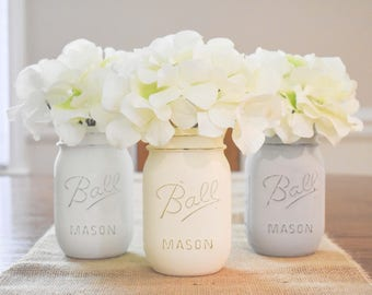 Painted Mason Jars- Mason Jars- Mason Jar Table Decor- Farmhouse Style- Rustic Home Decor- Mason Jar Decor- Rustic Wedding Decor-Table Decor