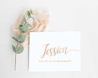 Personalized Bridesmaid Proposal Card- Asking Bridesmaid Card- Rose Gold Foil Will You Be My Bridesmaid Invite- Ask Bridesmaid Card Set