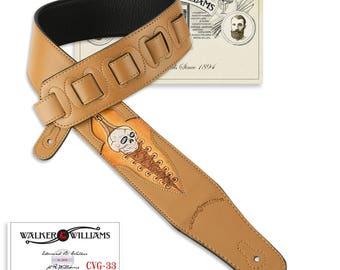 London Tan Leather Guitar Strap Hand Tooled Skull Design CVG-33