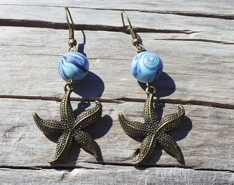 Vortex Blue Pearl Earrings in Starfish pendant-fimo Earrings All Hand Made