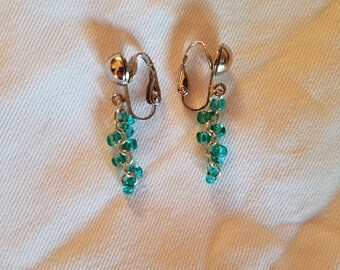 Aqua Clip-On Earrings