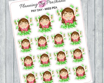 Pay Day Money Girls Planner Stickers - For the Erin Condren Life Planner and Happy Planner