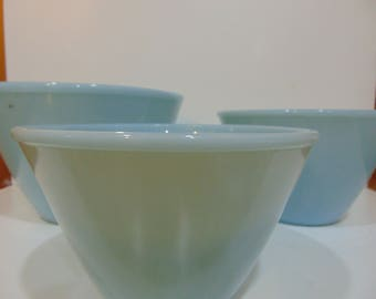 Turquoise Fire King Splash Proof Nesting Bowls
