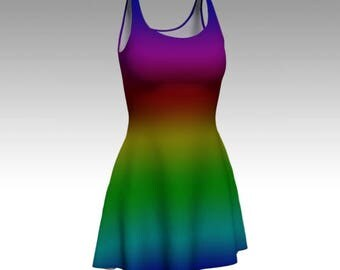 Rainbow Dress, Ombre Dress, Rainbow Stripes, Rainbow Ombre, Flare Dress, Skater Dress, Bodycon Dress, Fitted Dress, Fit and Flare Dress, Art