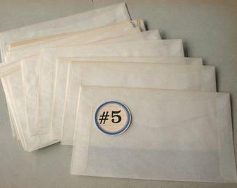 Vintage Glassine Envelopes Size 5 Translucent Paper Unused (25)